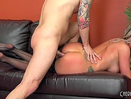 Busty blonde enjoys first casting and she is so excited that swallows all sperm 8