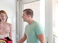 Delivery boy brings parcel to a sexy redhead and she rewards him with her pussy 4