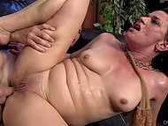 Young guy gets opportunity to fuck mature lady's both holes so he uses this great chance