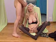 Old skinny female has been a whore many years ago and gets in hands of a young male again