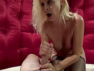 Young dude wants to taste that MILF and she is ready for good sex so even swallows his sperm 11