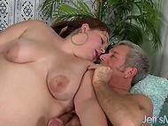 Fat woman gives to mature man her precious wet hole and he of course loves that