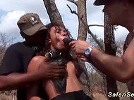 Crazy black bitch gets punished near the tree and after three glorious men cum over her slutty face
