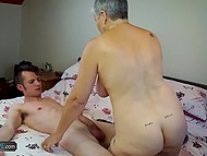 Tall dude comes to help hot granny and find out that she wants to suck his young dick 5