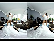 Sweety comes to bedroom for playing with her toy friend and she is ready to continue fun time 5