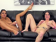 Two sexy lesbians show good entertainment at casting on sofa and have fun with sex toys 8