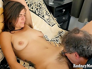 Sexy secretary with hairy armpits agrees to go to drink with customer and lets him creampie her