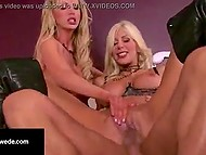 Swedish bombshell Puma Swede and her friend take load of cum in mouths after threesome with athlete