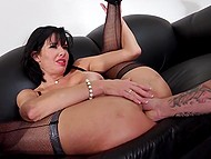 Busty MILF in fishnet stockings agreed to help gallant man in exchange for sex in office 7