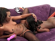 Two black divas wanted to warm up their peaches and in this case they have special toy