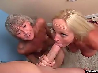 Two hot mature women make dude's dick become stronger and for reward they get facials