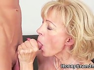 Old blonde calls young fucker using internet resources and soon tastes his sperm 9