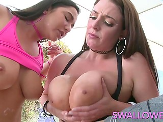 Cheerful colleen and concupiscent lady use their deep throats to receive hot sperm outdoors
