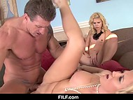 Charming stepdaughter gives blowjob to stepdaddy until her stepmother comes to help 10