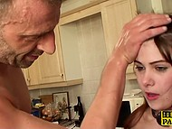 Cute girl from France fell into bristly fucker's hands and his cock visited each of her slots 5