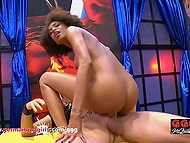 Men nail Latina Luna Corazon with voluminous hair, cum in mouth wide open, and she swallows all jizz 9