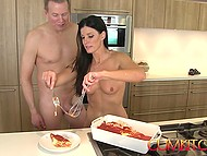 Handsome buddy helps sexy MILF cook food and drills her muffin right at oven 11