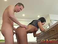 Handsome buddy helps sexy MILF cook food and drills her muffin right at oven 4