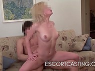Sweet blonde comes to casting where pumped dude drills her very tight hole