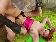 Redhead uses interval between blowjob and coition with grey-haired man to lick his anus 10