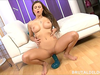 Czech brunette Billie Star with big tits bounces on dildo but she is still in need of fucking machine
