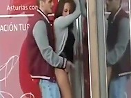 Boyfriend can't wait and fucks brunette hottie in the street but gets spotted by passer