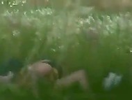 Spy sits in shelter and films young couple fucking in the middle of field ignoring bystanders 7