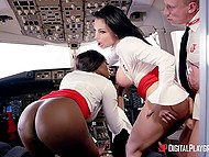 Sexy undercover agents dressed as stewardesses distract pilot to carry out the mission