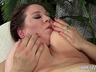 Beautiful BBW MILF sucks man's thick cock and opens trimmed cunny for further penetration 8