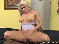 Playful blonde told about her preferences and followed black macho to get involved in rough fuck 8