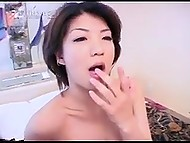 Well-groomed Japanese girl tastes hot cum that she gets after sex with friend in bedroom 10