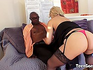 Male watched how busty wife was doing everything possible to make black macho forget about money debt 4