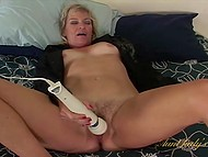 Blonde mature hadn't masturbated with powerful vibrator until appeared in amateur scene