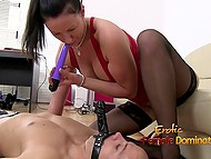 Bald dude with dildo stuck on his face is dominated by imperious MILF in sexy stockings