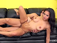 Buddy fucks hot brunette on black couch and in the end covers cute face with sperm 5