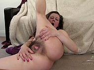Horny MILF didn't check her hairy bush for a long time so it needs moistening 11