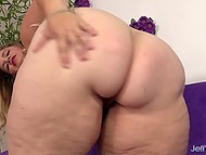 Big blonde with enormous tits gags on partner's prick and opens hairy muff for it 5