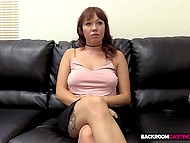 Cuddly redhead is fucked in asshole and creampied at casting by fake interviewer 4