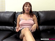 Cuddly redhead is fucked in asshole and creampied at casting by fake interviewer 6