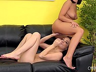 Ardent brunettes Adriana Chechik and Dallas Black have amazing lesbian foreplay 10