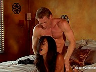 Comely brunette and her handsome lover passionately make love in several poses 10