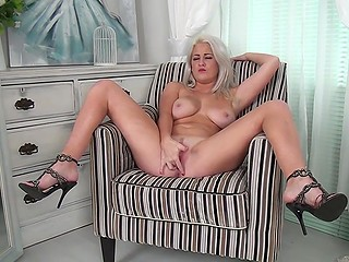 White-headed chick in high heels and with great natural breasts fingers beautiful pussy