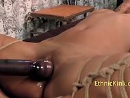 Tied up black sweetie with huge nipples served by lustful BBW in special room 4