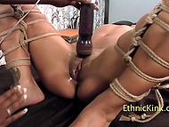 Tied up black sweetie with huge nipples served by lustful BBW in special room 7