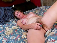 Lonely mature compensates lack of partner by masturbating her hairy pussy with vibrator 11