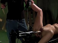 Comely brunette lies tied up so dominant guy can do with her pussy everything he wants 4