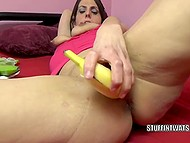 Dirty brunette uses bananas as sex toys to satisfy all her sexual fantasies 6