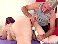 Voluptuous mature came at special massage session where man uses vibrators to rub her pussy