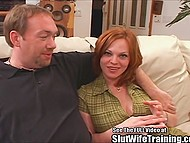 Male checked how deep red-haired MILF's throat is then penetrated her in doggystyle position