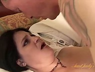 Guy drills sexy BBW brunette in bedroom before covers hairy cunny with sperm 11